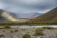 Bush plane approaches landing, Noatak River, Gates of the Arctic National Park, Alaska