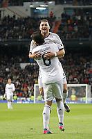 ATENCAO EDITOR IMAGEM EMBARGADA PARA VEICULOS INTERNACIONAIS - MADRI, ESPANHA, 15 JANEIRO 2013 - COPA DO REI - REAL MADRID X VALENCIA - Karim Benzema jogador do Real Madrid comera seu gol durante partida pelo jogo de ida das quartas-de-finais da Copa do Rei no Estadio Santiago Bernabeu em Madri capital da Espanha, nesta terca-feira, 15. (FOTO: CESAR CEBOLLA / ALFAQUI / BRAZIL PHOTO PRESS)..