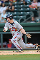 Second baseman Ross Heffley (25) of the Rome Braves bats in a game against the Greenville Drive on Tuesday, August 20, 2013, at Fluor Field at the West End in Greenville, South Carolina. Rome won, 4-2. (Tom Priddy/Four Seam Images)