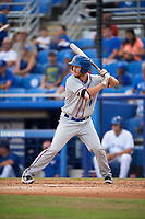 St. Lucie Mets catcher Patrick Mazeika (11) at bat during a game against the Dunedin Blue Jays on April 20, 2017 at Florida Auto Exchange Stadium in Dunedin, Florida.  Dunedin defeated St. Lucie 6-4.  (Mike Janes/Four Seam Images)