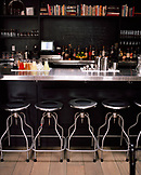 USA, California, Los Angeles, view of bar counter at Comme Ca Restaurant.