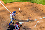 30 April 2017: New York Mets infielder T.J. Rivera breaks his bat on a grounder to second in the 8th inning against the Washington Nationals at Nationals Park in Washington, DC. The Nationals defeated the Mets 23-5 in the third game of their weekend series. Mandatory Credit: Ed Wolfstein Photo *** RAW (NEF) Image File Available ***