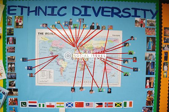 Map on school wall showing global ethnic diversities,
