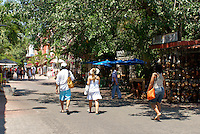 Tourists strolling on Fifth Avenue or Quinta Avenida in Playa del Carmen, Riviera Maya, Quintana Roo, Mexico.