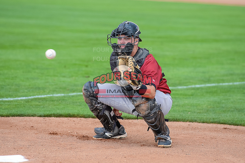 Kyle Pollock (51) of the Idaho Falls Chukars warms up the starting pitcher in the bullpen before the game against the Ogden Raptors in Pioneer League action at Lindquist Field on August 26, 2015 in Ogden, Utah. Ogden defeated the Chukars 5-1. (Stephen Smith/Four Seam Images)