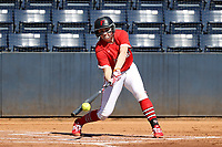 GREENSBORO, NC - FEBRUARY 22: Lacey Olaff #14 of Fairfield University hits the ball during a game between Fairfield and North Carolina at UNCG Softball Stadium on February 22, 2020 in Greensboro, North Carolina.