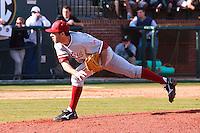 NASHVILLE, TENNESSEE-Feb. 26, 2011:  Danny Sandbrink of Stanford delivers a pitch against Vanderbilt, during a game at Vanderbilt University in Nashville, Tennessee.  Vanderbilt defeated Stanford 8-7.