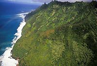 Eastern end of Na Pali Coast State Park, Kauai north shore, view to Haena.