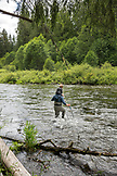 USA, Oregon, Santiam River, Brown Cannon, a group of dads and sons heading out to go fishing on the Santiam River