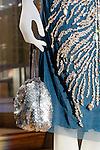 Irene Bordeaux handbag and dress detail at the Catherine Martin and Muccia Prada Dress Gatsby display at Prada store in SOHO, NYC May 4, 2013.