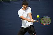 June 11th 2017, Nottingham, England; ATP Aegon Nottingham Open Tennis Tournament day 2;  backhand from Yuya Kibi of Japan in his match against Niklas Johansson of Sweden