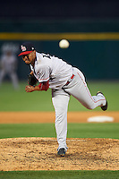 Louisville Bats relief pitcher Wandy Peralta (43) delivers a pitch during a game against the Buffalo Bisons on June 20, 2016 at Coca-Cola Field in Buffalo, New York.  Louisville defeated Buffalo 4-1.  (Mike Janes/Four Seam Images)