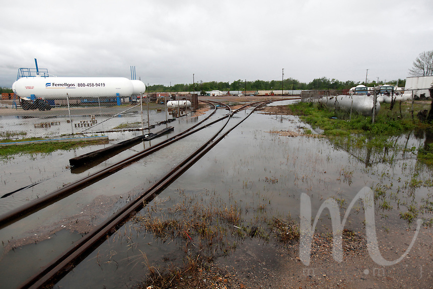 Flood water covers train tracks in Poplar Bluff, MO on Wednesday, April 27, 2011. By Wednesday night, official water levels in Poplar Bluff had reached to 19.54 feet.
