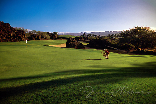 A man crouches down to see the outcome of his last shot on a golf course in Hawaii