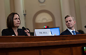 Dr. Fiona Hill, former Senior Director for Europe and Russia, National Security Council (NSC), and David A. Holmes, Political Counselor, United States Embassy in Kyiv, Ukraine, on behalf of US Department of State, testify during the US House Permanent Select Committee on Intelligence public hearing as they investigate the impeachment of US President Donald J. Trump on Capitol Hill in Washington, DC on Thursday, November 21, 2019.<br /> Credit: Ron Sachs / CNP<br /> (RESTRICTION: NO New York or New Jersey Newspapers or newspapers within a 75 mile radius of New York City)