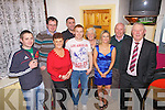 Bon Voyage for Aaron Cahill(centre) who will off to Abu Dhabi in early January, pictured here on New Year's Eve in The Sportsfield Bar, Brosna, also pictured l-r: Mike O'Connor, John Paul Curtin, Cathleen Downey, Michael Leahy, Aaron Cahill, Margaret O'Connor, Hannahmaria Downey, Mikey O'Connor and Matt Fitzpatrick.