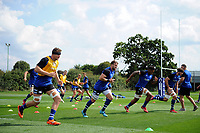 Bath United in action during the pre-match warm-up. Premiership Rugby Shield match, between Bristol Bears A and Bath United on August 31, 2018 at the Cribbs Causeway Ground in Bristol, England. Photo by: Patrick Khachfe / Onside Images