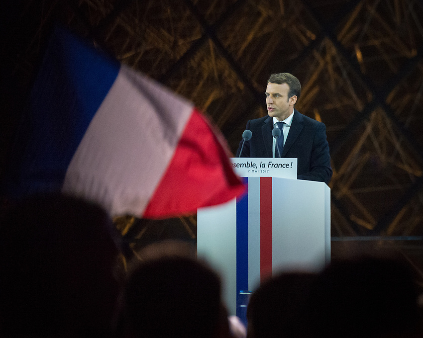 Celebration of Emmanuel Macron's victory in the French Presidential election at the Louvre, Sunday 7th May 2017. The first round of the Presidential election took place on Sunday 23rd April 2017 with 11 candidates, not including the incumbent President, François Hollande, who opted not to stand on account of low popularity ratings. The favorite at the outset was the (Conservative) candidate for Les Républicains, François Fillon, but his popularity declined dramatically when the french newspaper Le Canard Enchainé revealed that he had been paying his (English) wife approximately €100,000 a year, for several years, from public funds, the so called 'Penelopegate' affair. Jean-Luc Mélenchon (La France Insoumise) performed remarkably well in the first round, ending fourth, with 19.58%, just behind Fillon, but Benoit Hamon, though selected in by the Parti Socialistin their primary, failed to impress, and the two winners of the first round were Emmanuel Macron with his new party En Marche(24.01%) and Marine le Penn for the Front National (21.3%). The second round voting took place on Sunday 7th May 2017 and the result was announced at 8.00 pm: Emmanuel Macron 66.1%; Marine le Penn 33.9%. Macron therefore becomes President at the age of 39, the youngest President of the Fifth Republic and the youngest ruler of France since Napoleon. The choice of the Louvre for the post election celebration was a novel choice, supposedly representing the historic past, heritage, and continuity, whilst also being the seat of power from the time of Henry IV up to Napoleon, with monarchic overtones. The ceremony took place in front of the Pyramid designed by Leoh Ming Pei, commissioned by François Mitterand in 1983. This was deemed to add a spiritual aspect to the event, with the intriguing additional factor of being the symbol of the Illuminati, the secret society that is said to have infiltrated governments to influence world affairs. After the election result had been announced, Mac