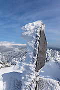 Appalachian Trail - Rime Ice along the Crawford Path in the White Mountains, New Hampshire USA .