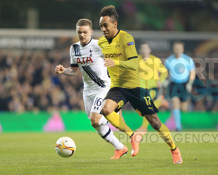 Tottenham?s Kieran Trippier tussles with Dortmund?s Pierre-Emerick Aubameyang during the Europa League match at White Hart Lane Stadium.  Photo credit should read: David Klein/Sportimage