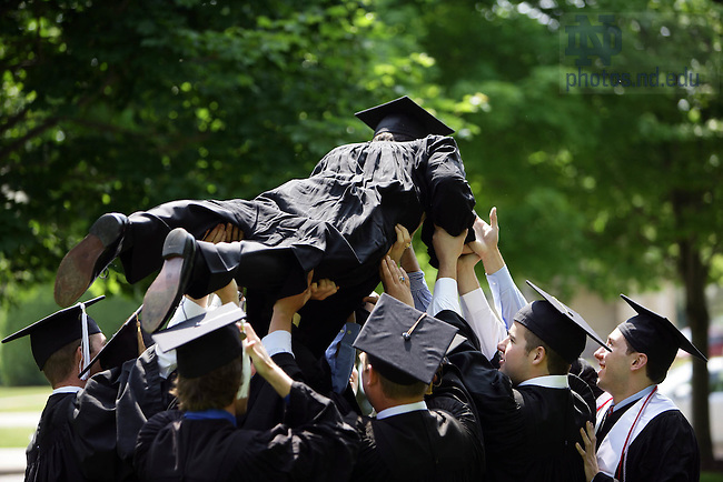 May 20, 2007; Grads celebrate with pushups after Commencement..Photo by Matt Cashore..