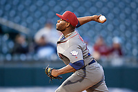 Lehigh Valley IronPigs relief pitcher Hector Neris (23) delivers a pitch during a game against the Buffalo Bisons on June 23, 2018 at Coca-Cola Field in Buffalo, New York.  Lehigh Valley defeated Buffalo 4-1.  (Mike Janes/Four Seam Images)