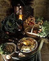 """Europe/France/Midi-Pyrénées/46/Lot/Cambes : La """"Licot"""" ou poule à la casserole - Recette de la ferme-auberge """"Les Vignes"""""""