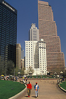 AJ3376, downtown, Atlanta, Georgia, Downtown skyline of Atlanta from Woodruff Park in the early spring in the state of Georgia.