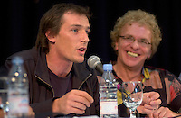 August 27,  2003, Montreal, Quebec, Canada<br /> <br /> Louis Belanger, director of the Montreal World Film Festival's opening movie GAZ BAR BLUES (L) and actor Serge Theriault (R) in a press conference, august 27 2003<br /> <br /> GAZ BAR BLUES Also plays the (Toronto Film ) FESTIVAL OF FESTIVALS, September 2003.<br /> <br /> <br /> <br /> <br /> The Festival runs from August 27th to september 7th, 2003<br /> <br /> <br /> Mandatory Credit: Photo by Pierre Roussel- Images Distribution. (&copy;) Copyright 2003 by Pierre Roussel <br /> <br /> All Photos are on www.photoreflect.com, filed by date and events. For private and media sales