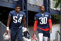 July 26, 2018: New England Patriots cornerback Jason McCourty (30) and linebacker Christian Sam (54) head to practice at the New England Patriots training camp held on the practice fields at Gillette Stadium, in Foxborough, Massachusetts. Eric Canha/CSM
