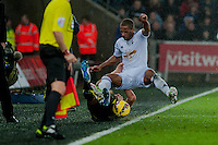 Sunday  14th   December 2014 <br /> Pictured: Wayne Routledge of Swansea City  fall into the touchline <br /> Re: Barclays Premier League Swansea City v Tottenham Hotspur  at the Liberty Stadium, Swansea, Wales,UK