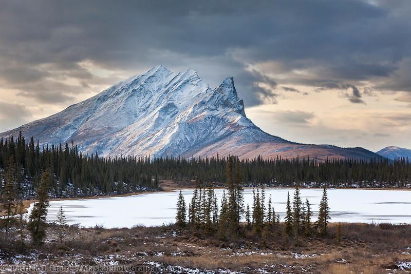 Mt Sukakpak and a small tundra pond in the Brooks Range, arctic Alaska.