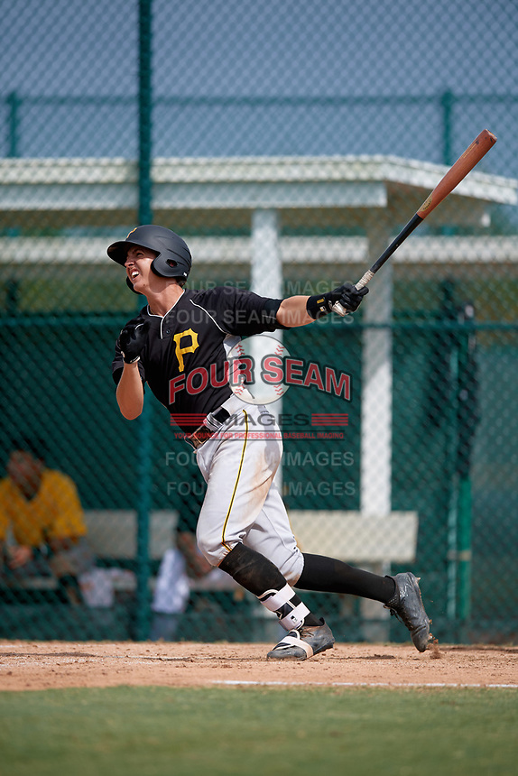 Pittsburgh Pirates shortstop Robbie Glendinning (10) hits a triple during an Instructional League intrasquad black and gold game on October 6, 2017 at Pirate City in Bradenton, Florida.  (Mike Janes/Four Seam Images)