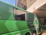 07.07.2020, Trainingsgelaende am wohninvest WESERSTADION,, Bremen, GER, 1.FBL, Werder Bremen - Mannschaftsbus, im Bild<br /> <br /> <br /> <br /> Am Abend nach dem Spiel kam es zu leichten Ausschreitungen in Hoffenheim - der MAnnschaftsbus von Werder wurde von den Heidenheimer FANS angegriffen und beworfen, dabei ging einen Scheibe zu bruch<br /> <br /> Foto © nordphoto / Kokenge