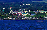 View of Hilo bay and town with Outrigger canoe, Big Island of Hawaii