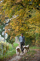 Carlo Marenda and his dogs Buk and Emy on a hunt for white truffles in the Le Langhe district of Piemonte, Italy