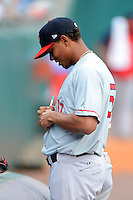 Pawtucket Red Sox shortstop Xander Bogaerts (15) signs autographs before a game against the Buffalo Bisons on August 4, 2013 at Coca-Cola Field in Buffalo, New York.  Pawtucket defeated Buffalo 8-1.  (Mike Janes/Four Seam Images)