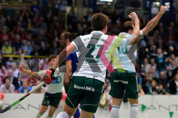 GER - Luebeck, Germany, February 06: During the 1. Bundesliga Herren indoor hockey semi final match at the Final 4 between Uhlenhorst Muelheim (white) and Mannheimer HC (blue) on February 6, 2016 at Hansehalle Luebeck in Luebeck, Germany.  Final score 2-3 (HT 7-5).  Jan Schiffer #27 of HTC Uhlenhorst Muehlheim<br /> <br /> Foto &copy; PIX-Sportfotos *** Foto ist honorarpflichtig! *** Auf Anfrage in hoeherer Qualitaet/Aufloesung. Belegexemplar erbeten. Veroeffentlichung ausschliesslich fuer journalistisch-publizistische Zwecke. For editorial use only.