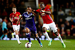 Paul Pogba of Manchester United takes on Youri Tielemans of Anderlecht during the UEFA Europa League Quarter Final 2nd Leg match at Old Trafford, Manchester. Picture date: April 20th, 2017. Pic credit should read: Matt McNulty/Sportimage