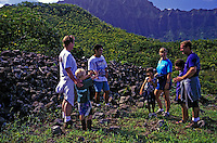 Mauka Makai Eco Tour group explores heiau on Oahu