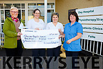 Carmel Calvin from the Black Shop, Castlecove presenting a cheque to Cahersiveen Day Hospital proceeds from the annual St Crohans Festival, pictured here on Thursday were l-r; Carmel Galvin, Aisling McCarthy, Elaine Walsh & Doreen O'Sullivan.