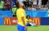 KAZAN - RUSIA, 06-07-2018: MARCELO jugador de Brasil luce decepcionado después del partido de cuartos de final entre Brasil y Bélgica por la Copa Mundial de la FIFA Rusia 2018 jugado en el estadio Kazan Arena en Kazán, Rusia. / MARCELO player of Brazil looks disappointed after the match between Brazil and Belgium of quarter final for the FIFA World Cup Russia 2018 played at Kazan Arena stadium in Kazan, Russia. Photo: VizzorImage / Julian Medina / Cont