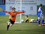 Ardee's Captain Trevor Farrell celebrates after scoring the first goal in their win over Slane Wanderers in the under 9 final at the Drogheda and District schoolboys cup finals in Hunky Dorys park. Photo: Colin Bell/pressphotos.ie