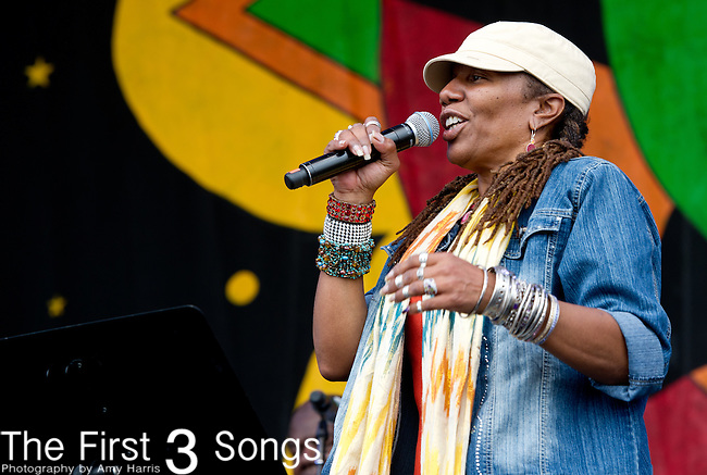 Charmaine Neville of the Charmaine Neville Band performs during the New Orleans Jazz & Heritage Festival in New Orleans, LA.