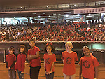 """MCLIMS students at """"Celebrating Diversity & World Peace"""" at Minute Maid Park (from left): Santiago Martinez, Victoria Long, Faris Vehra, Azul Leon, Judah Thibaut, and McKinley Haley."""