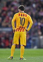 FUSSBALL CHAMPIONS LEAGUE  SAISON 2015/2016 VIERTELFINAL RUECKSPIEL Atletico Madrid - FC Barcelona       13.04.2016 Lionel Messi (Barca) enttaeuscht