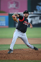 Thomas Dorminy (6) of the Lake Elsinore Storm pitches against the Lancaster JetHawks at The Hanger on June 12, 2017 in Lancaster, California. Lancaster defeated Lake Elsinore, 13-6. (Larry Goren/Four Seam Images)