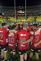 The Crusaders huddle after the Super Rugby match between the Hurricanes and Crusaders at Westpac Stadium in Wellington, New Zealand on Friday, 29 March 2019. Photo: Dave Lintott / lintottphoto.co.nz