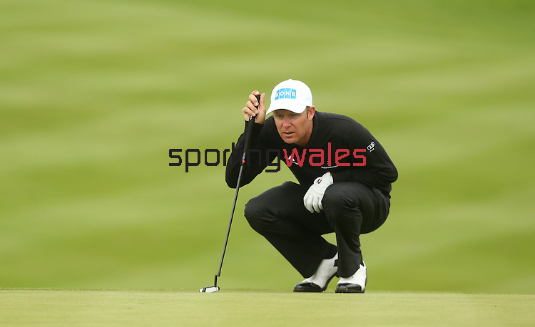 Mikko Ilonen lines up a putt on the 18th during the first round of the ISPS Handa Wales Open 2013 at the Celtic Manor Resort<br /> <br /> 29.08.13<br /> <br /> ©Steve Pope-Sportingwales