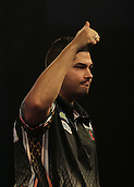 01.01.2016. Alexandra Palace, London, England. William Hill PDC World Darts Championship. Jelle Klaasen gives the Alexandra Palace crowd the thumbs up as he beats Alan Norris